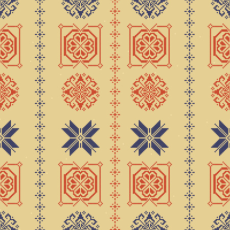 Traditional Norway Style Seamless Knitting Pattern. Abstract ethnic Background. Knitted Sweater Design. Scandinavian ornament