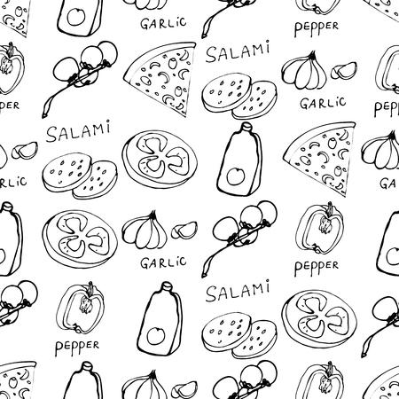Nahtloses Muster mit handgezeichneten Pizzascheiben. Vektorschwarzweiss-Lebensmittelhintergrund. Monochromes Design für Stoffe, Tapeten, Geschenkpapier, Karten und Web. Doodle-Kunst. Kochzutaten skizzieren