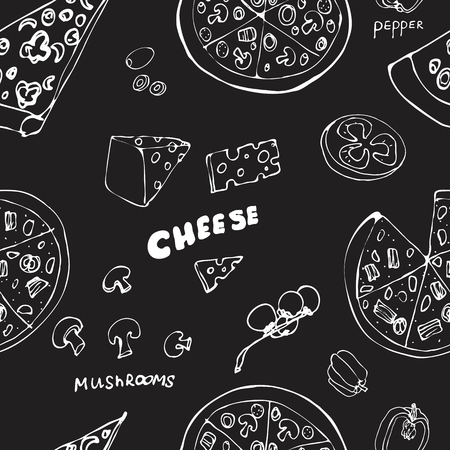 Seamless pattern with hand drawn pizza slices. Vector black and white food background. Monochrome design for fabric. Chalkboard drawing. Doodle art. Sketch cooking ingridients Illustration
