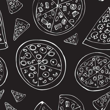 Seamless pattern with hand drawn pizza slices. Vector black and white food background. Monochrome design for fabric. Chalkboard drawing. Doodle art. Sketch cooking ingridients