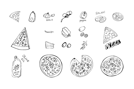 Hand drawn pizza slices and vegetables. Vector black and white food doodles. Monochrome Sketch cooking ingridients