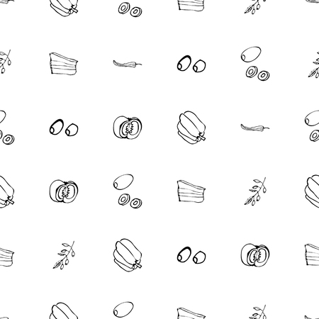 Seamless pattern with hand drawn cooking ingridients. Vector black and white food background. Monochrome design for fabric, wallpapers, wrapping paper, cards and web. Doodle art. Sketch vegetables