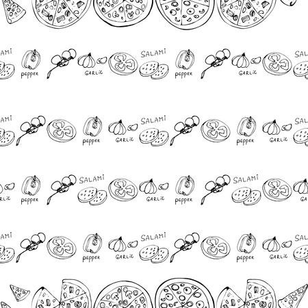 Modello senza cuciture con fette di pizza disegnate a mano. Priorità bassa dell'alimento di vettore in bianco e nero. Design monocromatico per tessuto, sfondi, carta da imballaggio, carte e web. Scarabocchio arte. Schizzo di ingredienti da cucina Vettoriali