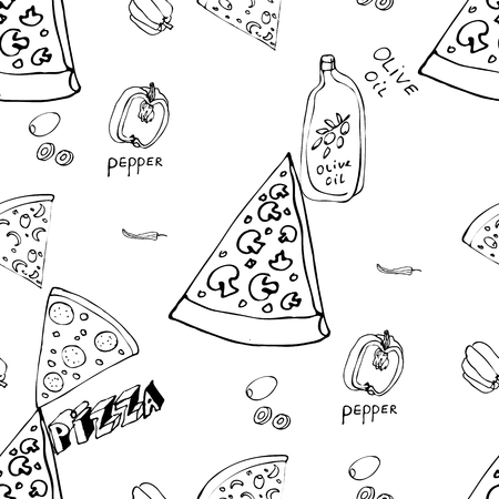 Seamless pattern with hand drawn pizza slices. Vector black and white food background. Monochrome design for fabric, wallpapers, wrapping paper, cards and web. Doodle art. Sketch cooking ingridients
