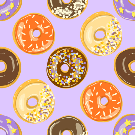 Glazed Donuts seamless pattern. Vector illustration. doughnuts into color caramel and chocolate glaze. Food textile print or wallpaper
