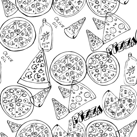 Seamless pattern with hand drawn pizza slices. Vector black and white food Monochrome design for fabric, wallpapers, wrapping paper, cards and web. Doodle art. Sketch cooking ingridients Ilustración de vector
