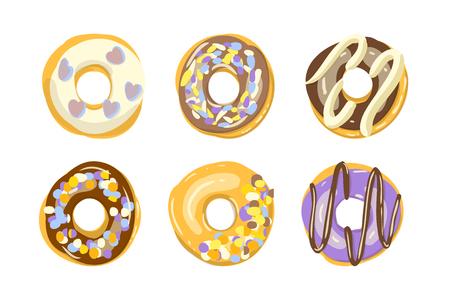 Ensemble de six beignets de couleur isolés. Illustration vectorielle de boulangerie. Vue de dessus des beignets en glaçage pour la conception de menus, décoration de café