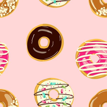 Glazed Donuts seamless patternVector. Doughnuts into color caramel and chocolate glaze. Sweet cute Cartoon style backgeound Ilustração