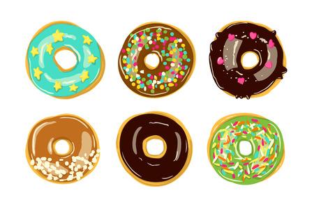 Ensemble de six beignets isolés. Illustration vectorielle de boulangerie. Vue de dessus des beignets en glaçage Vecteurs