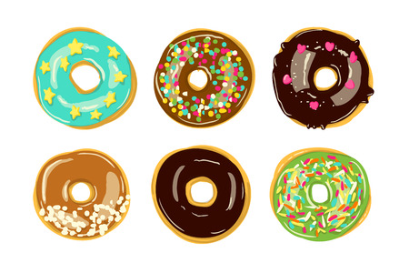 Set of six donuts isolated. Bakery Vector illustration. Top View doughnuts into glaze Ilustracje wektorowe