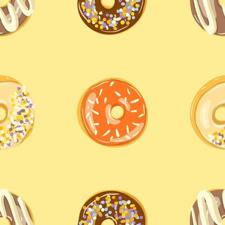 Glazed Donuts seamless pattern. Bakery Vector. Top View doughnuts into color caramel and chocolate glaze. Cartoon style illustration. Иллюстрация