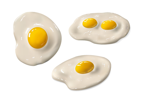 Fried egg set. Fast food. Cooking lunch, dinner or breakfast. Natural product. Cooked omelet. Scrambled eggs. Isolated white background. EPS10 vector illustration.