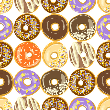 Different Glazed Donuts seamless pattern. Bakery Vector. Top View doughnuts into color caramel and chocolate glaze. Food background. Cartoon style illustration.