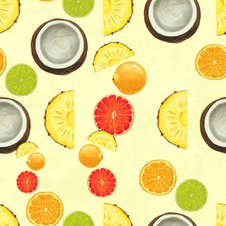 Hand drawn seamless pattern with coconuts, grapefruit, orange, lime, pineapples. Summer background with exotic fruits. Top view. Wallpaper or textile tropic print