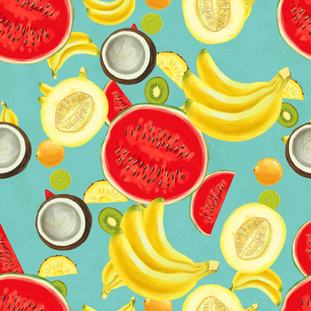 Hand drawn seamless pattern with bananas, coconuts and melon. Summer background with exotic fruits. Top view. Wallpaper or textile tropic print