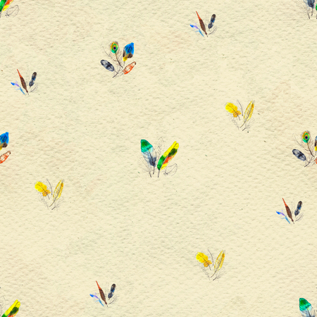Watercolor seamless pattern. Hand painted texture with various multicolor bird feathers. 写真素材