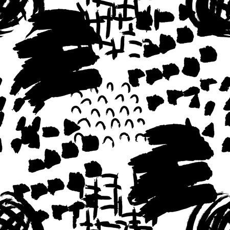 Vector seamless pattern. Abstract background with grunge brush strokes. Ink painted hand made texture. Black and white design. Wallpaper, print for fabric or wrapping paper.