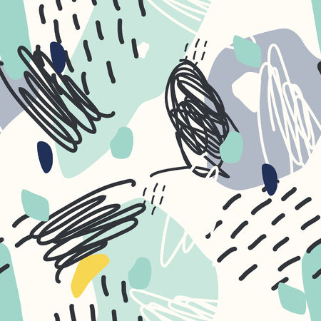 Vector seamless pattern. Abstract background with brush strokes. Ilustração