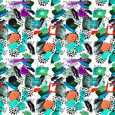 Seamless pattern made by hand drawn paint strokes. Art background. Abstract colorful acrylic painting. Geometric shapes.