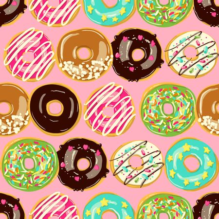 Glazed Donuts seamless pattern. Vector doughnuts into color caramel and chocolate glaze. Food background. Cartoon style illustration.