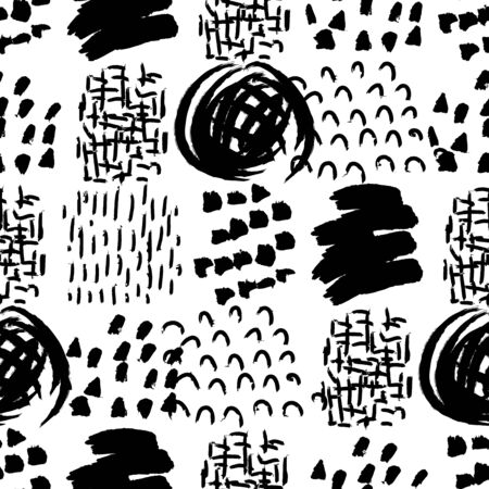 Vector seamless pattern. Abstract background with grunge brush strokes. Ink painted hand made texture. Black and white design. Wallpaper or print for fabric