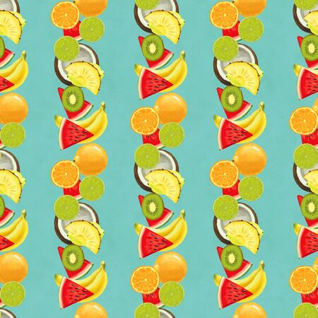 Hand drawn seamless pattern with bananas, orange, pineapples papaya and watermelon. Summer background with exotic fruits. Top view. Wallpaper or textile tropic print