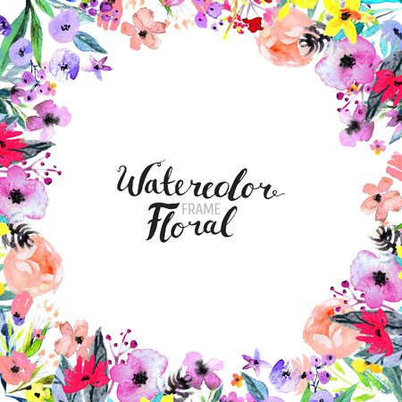 Watercolor Floral Background. Hand painted border of flowers. Good for invitations and greeting cards. Round Frame isolated on white and brush lettering. Rose, poppy and peony Spring blossom Stock Photo