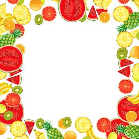Hand drawn Exotic Fruit square frame isolated on white background. Summer illustration