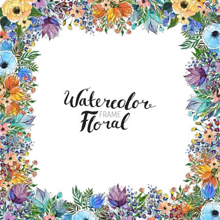 Watercolor Floral Background. Hand painted border of flowers. Good for invitations and greeting cards. Frame isolated on white and brush lettering. Spring blossom