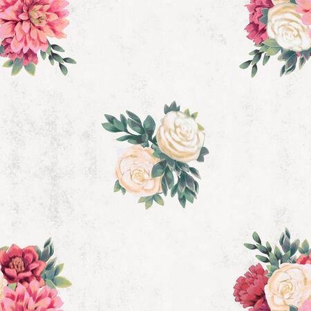 Watercolor floral seamless pattern. Hand painted flowers, background for greeting card, wrapping paper or wedding decoration. Wallpaper or textile with gentle pink and white bouquet Stock Photo