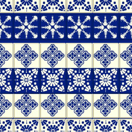 Vector ceramic tile pattern, Lisbon floral mosaic, Mediterranean seamless navy blue ornament. Portuguese azulejo background