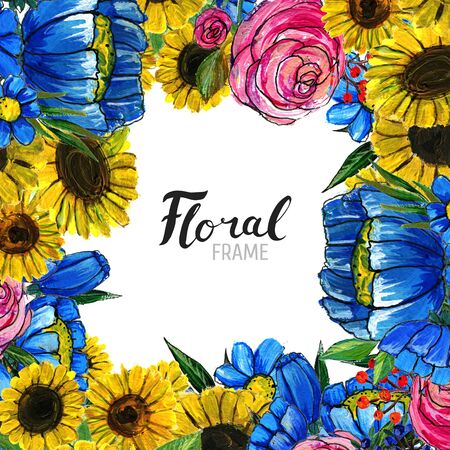 Watercolor Floral Background. Hand painted border of flowers. Good for invitations and greeting cards. Frame of sunflowers, roses, berries and blue wildflowers isolated on white. Spring blossom