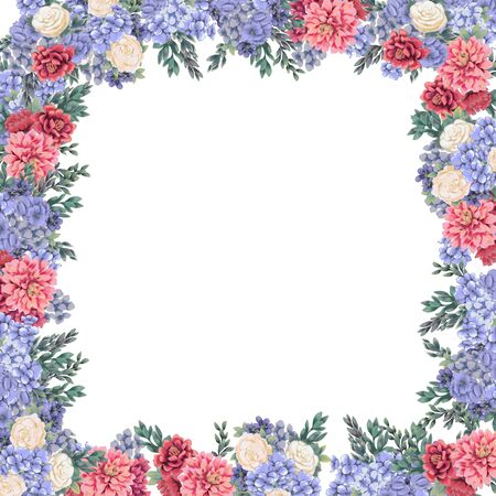 Floral frame for design save the date cards, invitations, posters and birthday decoration. Spring border hand painted flowers for wedding