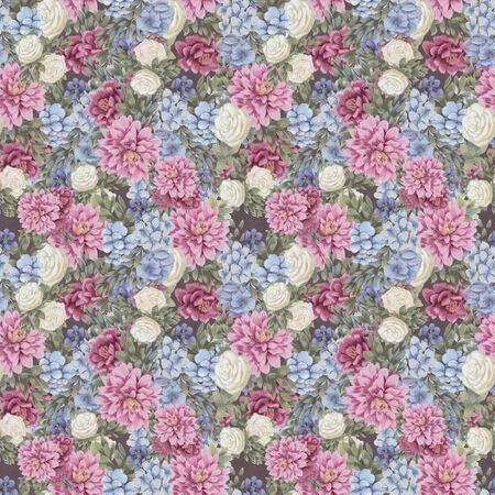 Trendy Floral seamless pattern. Hand-drawn flowers. Wallpaper or textile print