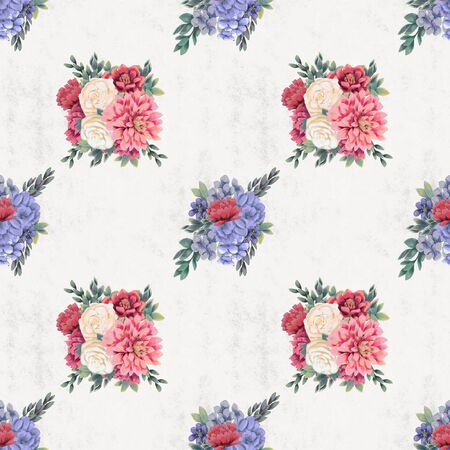 Watercolor floral seamless pattern. Hand painted flowers, background Wallpaper or textile with pink chrysanthemum, blue hydrangea and white roses