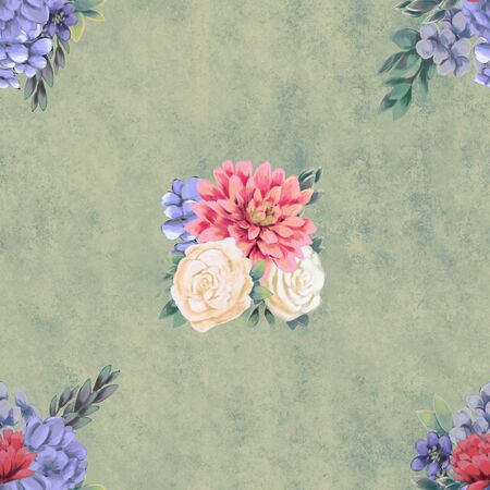 Watercolor floral seamless pattern. Hand painted flowers, background, wrapping paper or wedding decoration. Фото со стока