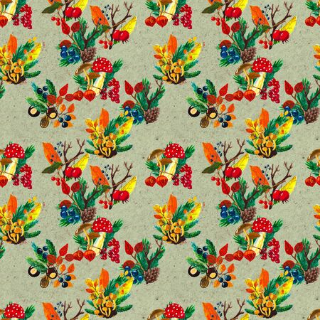 Autumn watercolor seamless pattern with leaves mushrooms and pine cones. Seasonal hand painted design with rowan, branches, yellow leaves, berries and acorns 写真素材