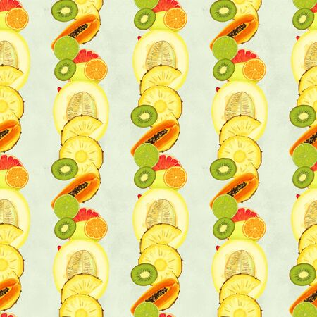 Hand drawn seamless pattern with orange kiwi fruit, pineapples papaya and melon. Summer background with exotic food. Top view. Wallpaper or textile tropic print