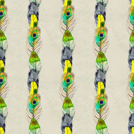 Watercolor seamless pattern. Hand painted texture with various multicolor bird feathers. Фото со стока