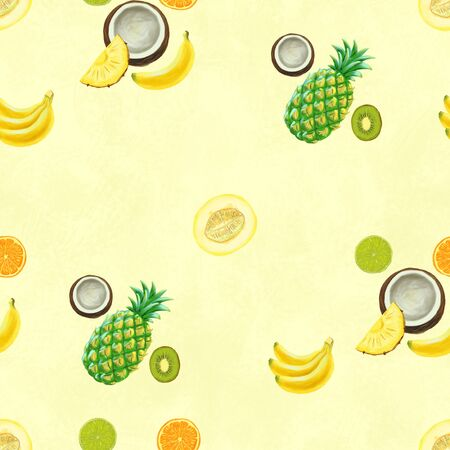 Hand drawn seamless pattern with bananas, coconuts, pineapples and melon. Summer background with exotic food. Top view. Wallpaper or textile tropic print