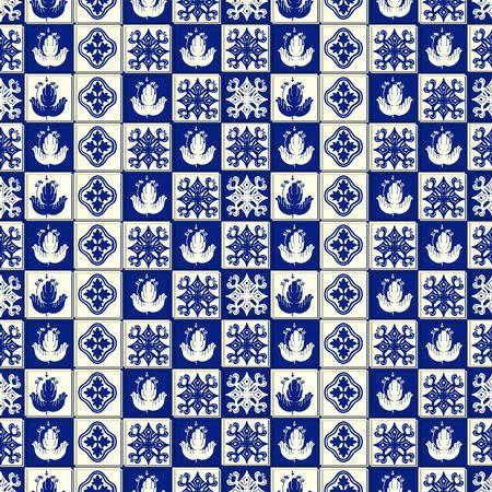 Vector ceramic tile pattern, Lisbon floral mosaic, Mediterranean seamless navy blue ornament. Portuguese azulejo background