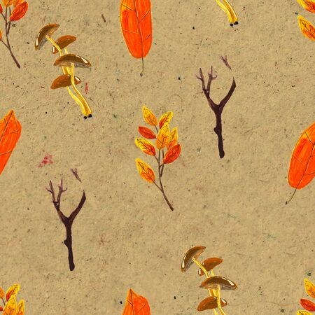 Autumn watercolor seamless pattern. Seasonal hand painted design with rowan, branches, yellow leaves and berries Stock Photo