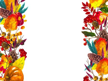 Autumn leaves border with space for text isolated on white background. Seasonal floral watercolor frame