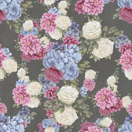 Floral seamless pattern. Hand-drawn flowers on black background. Wallpaper or textile with pink chrysanthemum, blue hydrangea and white roses Фото со стока
