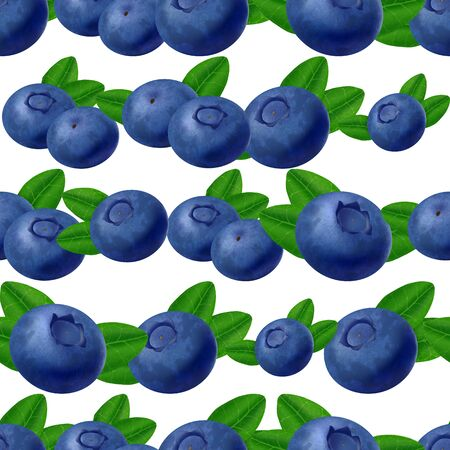 Seamless blueberries Pattern. 3d realistic vector berries and leaves isolated on white background