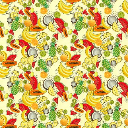 Hand drawn seamless pattern with bananas, coconuts, pineapples papaya and melon. Summer background with exotic fruits. Textile tropic print Stockfoto