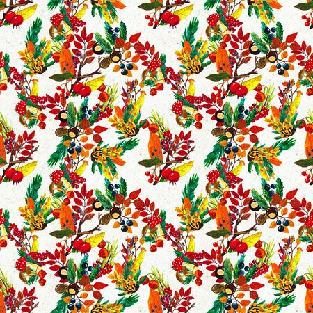 Autumn watercolor seamless pattern with leaves mushrooms and pine cones. Seasonal hand painted design with rowan, branches, berries and acorns