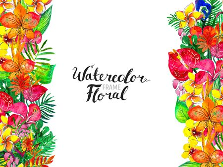 Watercolor Background with Tropical Plants and Flowers. Exotic floral border. Colorful hand painted design. Good for web, print, greeting cards Stock Photo