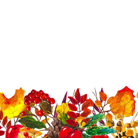 Autumn leaves border frame with space for text isolated on white background. Seasonal floral watercolor maple oak tree orange leaves with gourds for thanksgiving holiday, harvest decoration design.