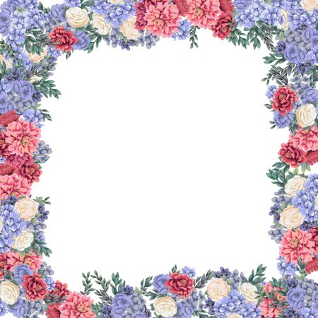 Floral frame for design save the date cards, invitations, posters and birthday decoration. Spring border hand painted wedding art